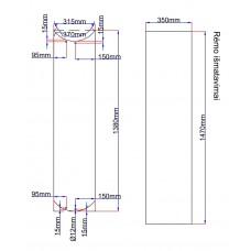 Dušo kabinos durys lenktos 315x1380 skaidrios, stiklas rėme (stiklas 330x1395 mm) 6.2.