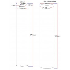 Dušo kabinos durys lenktos 325x1715 (stiklas rėme 340x1730 mm) fabric 6.18.