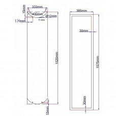 Dušo kabinos durys lenktos 333x1520 fabric, stiklas rėme (stiklas 348x1535 mm) 6.19.