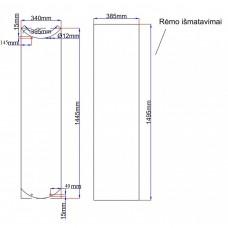 Dušo kabinos durys lenktos 340x1445 fabric, stiklas rėme (stiklas 355x1460 mm) 6.14.