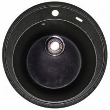 Granitinė plautuvė ROUND 2 black pearl su sifonu