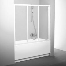 Stumdomos vonios durys Ravak, AVDP3-150, balta+stiklas Transparent