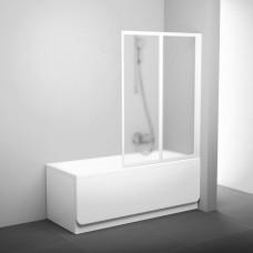 Sulankstoma vonios sienelė Ravak, VS2 105, balta+stiklas Grape