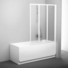 Sulankstoma vonios sienelė Ravak, VS3 100, balta+stiklas Transparent