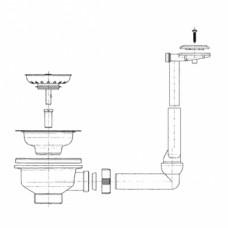 Ventilis FRANKE plautuvės EFX 614-78, EFL 614-78, d 3''1/2, užkemšamas