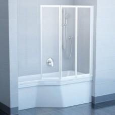 Vonios sienelė  RAVAK VS3 130 balta + stiklas Transparent