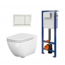 WC rėmo komplektas Cersanit, su WC Caspia, lėtai nusileidžiančiu dangčiu ir klavišu