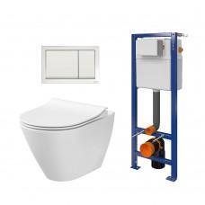 WC rėmo komplektas Cersanit, su WC City Oval, lėtai nusileidžiančiu dangčiu ir klavišu