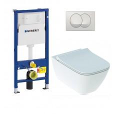 WC rėmo komplektas Geberit, Duofix Basic Delta 20, su WC Smyle Square ir Sandwich soft-close dangčiu
