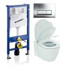 WC rėmo komplektas Geberit, Duofix Basic, su Ideal Standard Connect Aquablade ir soft -close dangčiu