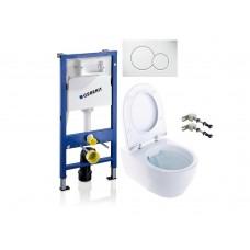 WC rėmo komplektas Geberit, Duofix Sigma, su Ifo iCON Rimfree ir soft-close dangčiu ir baltu klavišu