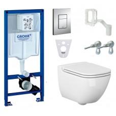 WC rėmo komplektas Grohe Rapid SL, su Cersanit Caspia Clean-On ir Slim soft-close dangčiu