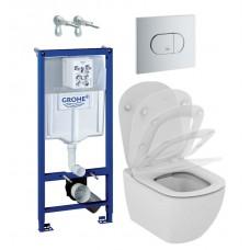 WC rėmo komplektas Grohe Rapid SL, su Ideal Standard Tesi Rimless ir soft-close dangčiu