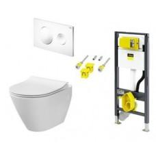WC rėmo komplektas VIEGA, Prevista su City oval puodu ir baltu mygtuku