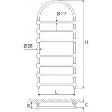 Rankšluosčių džiovintuvas žalvarinis EŽRA 750 KD (Dažytas su arka)